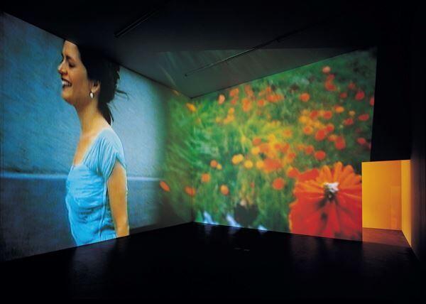 《永遠は終わった、永遠はあらゆる場所に》 1997年 2チャンネル・ヴィデオ・インスタレーション(4分9秒、8分25秒) クンストハレ・チューリヒでの展示風景 photo by Alexander Trohler (C) Pipilotti Rist, All images courtesy the artist, Hauser & Wirth and Luhring Augustine