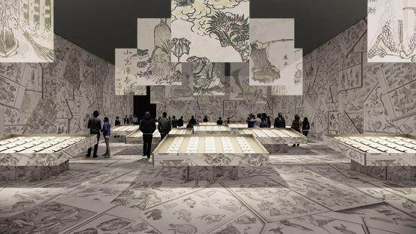 建築家・田根剛氏による『北斎漫画』展示プラン(イメージは構想段階のものです)