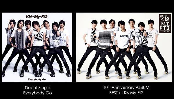 左がデビューシングル「Everybody Go」ジャケット、右が『BEST of Kis-My-Ft2』初回盤Aジャケット