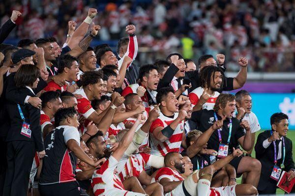 ラグビーワールドカップ2019日本大会でベスト8進出を決めた日本代表 (C)スエイシナオヨシ