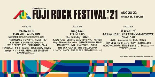 『FUJI ROCK FESTIVAL '21』第一弾ラインナップ