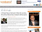 ロレアル、ケニアのコスメティックブランドを買収
