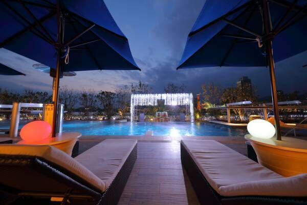 あったかナイトプールで100万ドルの夜景と夜桜を楽しむ!