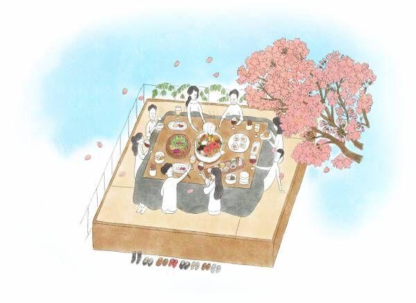 屋上テラスのこたつで楽しむ桜とおでん