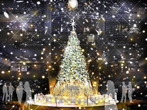 雪が舞い降りる横浜ランドマークのクリスマス