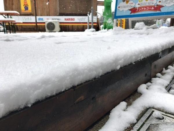 東名高速道路(足柄サービスエリア)の雪がやばい!走行できずチェーン装着してる人も。