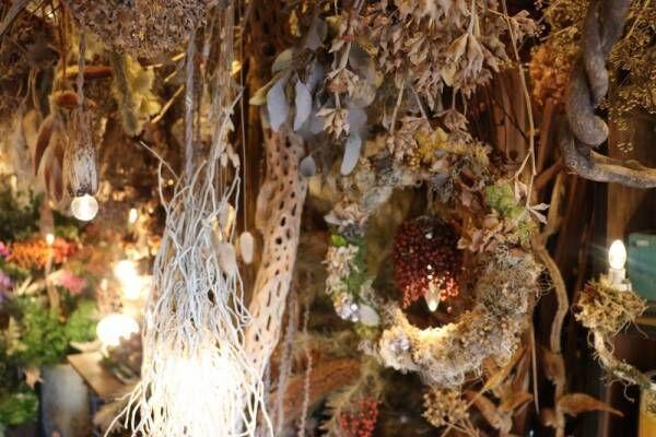 まるでジブリの世界!天井から吊られたドライフラワーが美しいフラワーショップ〔blue water flowers〕