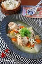 【今日のごはん】炊飯器でほったらかしサムゲタン!とろとろの鶏肉とたっぷり野菜でいただく♪(2018/12/27)