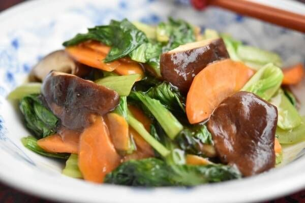 【今日のごはん】お肉を使わず10分でできちゃう!チンゲン菜とシイタケのとろみ炒め(2019/04/05)