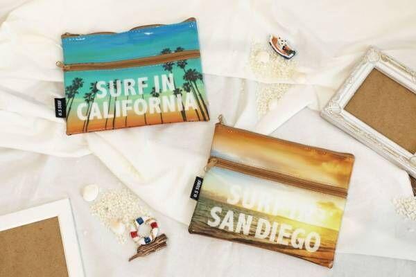 【セリア】西海岸好きにはたまらない♪サーフ柄ポーチで夏気分を楽しもう!
