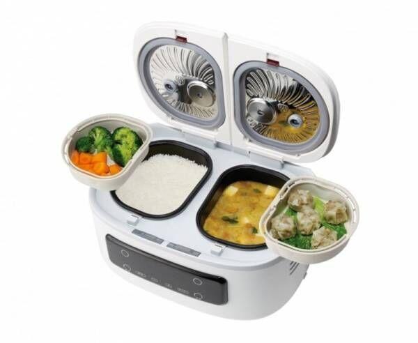一度に最大4品ほったらかし調理!毎日の食卓がラク~に充実。1台でご飯とおかずが同時にできる自動調理鍋「ツインシェフ」発売