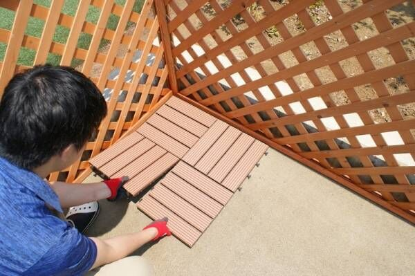 【DIY】ウッドデッキ、敷くだけで作れます♡しかもメンテがラク!