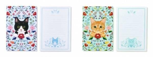 猫が思いを届けます。イラストレーター霜田有沙さんが描く「猫とお花のレターセット」が「フェリシモ猫部™」から新登場