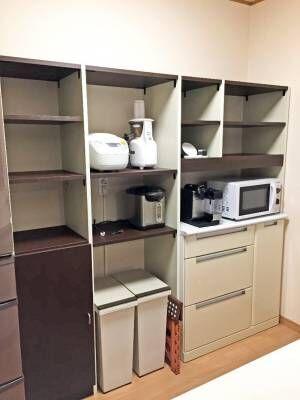 <自分設計!・工事不要!>セミオーダーで頼み、セミDIYで作るスペースに合わせたキッチン収納棚。