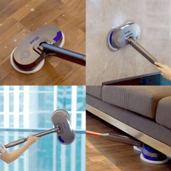 8.5cm薄型ヘッドの電動モップ!DRY&WETで壁、窓、隙間もラクラクお掃除!