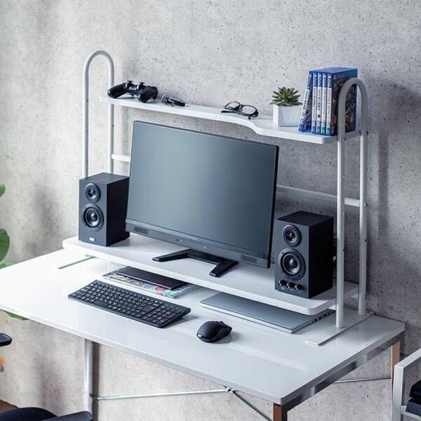 机上でクランプ固定でき、デスクに収納力を追加できる2段の机上ラックを6月11日発売