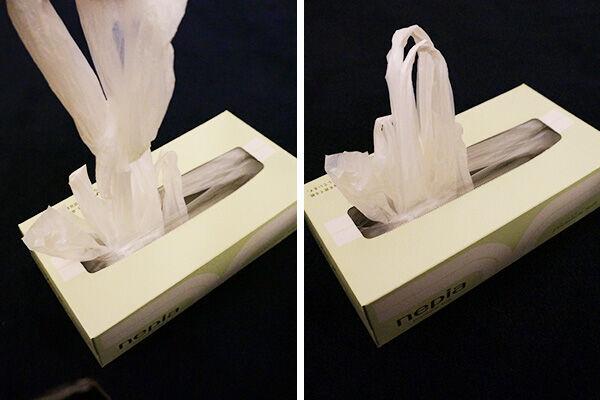 【ズボラ派に朗報】レジ袋収納にはティッシュボックスが便利すぎる!