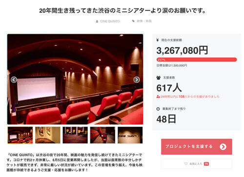 渋谷シネクイント、生き残りプロジェクトが目標金額200%超の資金調達に成功!