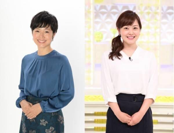 28日放送の『キャスター&記者1000人が選んだ!平成ニッポンの瞬間映像30』で初タッグを組む有働由美子アナウンサー、水卜麻美アナウンサー (C)日本テレビ