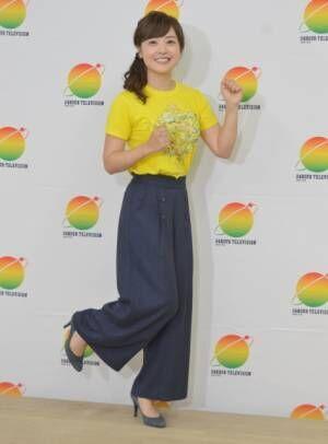 出走前の会見でノリノリポーズを決める水卜麻美 (C)ORICON NewS inc.