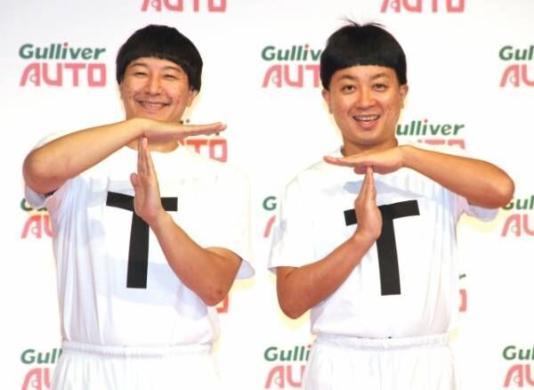 おなじみのネタ「TT兄弟」の姿で登場したチョコレートプラネット(左から)長田庄平、松尾駿(C)ORICON NewS inc.