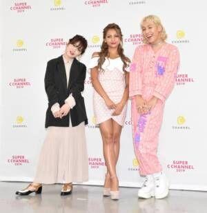 『SUPER C CHANNEL 2019』に登場した(左から)ゆうこす、ゆきぽよ、りゅうちぇる (C)ORICON NewS inc.