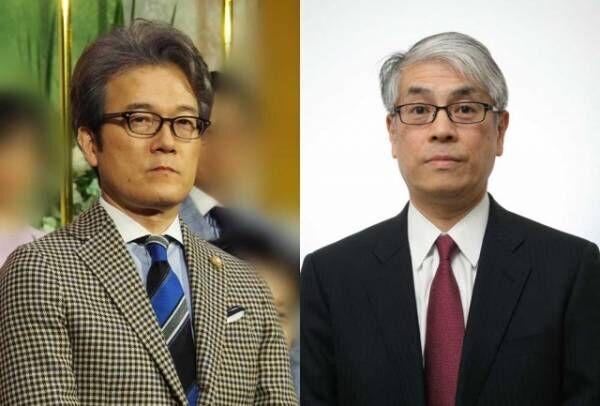 『ニュースウォッチ9』有馬嘉男キャスター(左)から新担当の田中正良記者((C)NHK)にバトンタッチ