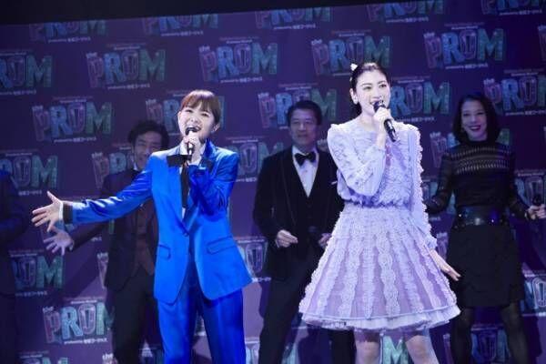 ミュージカル『「The PROM」Produced by 地球ゴージャス』の製作発表会見に出席した(左から)葵わかな、三吉彩花【撮影:NAITO】