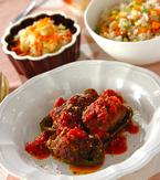 今日の献立は「ピーマンの肉詰めトマトソース」 E・レシピ