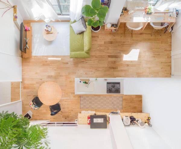 DIY家具がキッチンを主役にする。ふたり暮らしの広々LDK【プチDIY女子達のお部屋案内】