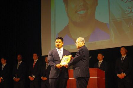 MVPは堀江、得点王は五郎丸。トップリーグ表彰式