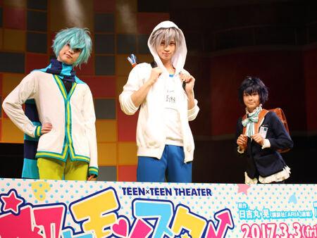 会見より。左から、ゆうたろう、荒牧慶彦、シェーン(C)日吉丸 晃/講談社「初恋モンスター」舞台制作委員会