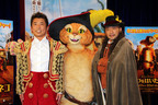 竹中&勝俣が映画『長ぐつをはいたネコ』公開アフレコに登場