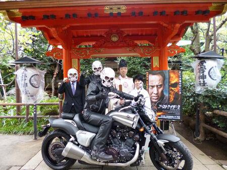 """炎のヒーロー""""ゴーストライダー""""が愛宕神社でヒット&火の用心祈願!"""