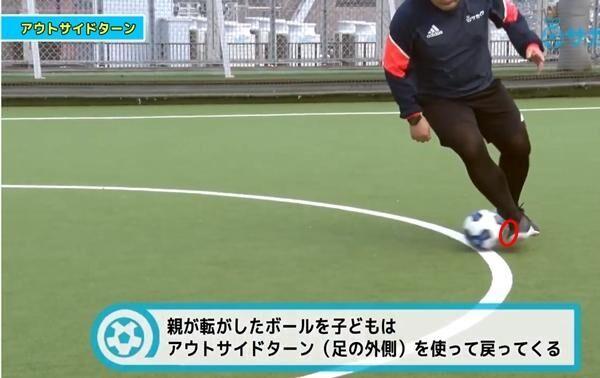 アウトサイド(足の外側)を使ってターンできるようになる サッカー3分間トレーニング