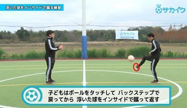浮き球をダイレクトで思った方向に蹴る(インサイド) サッカー3分間トレーニング