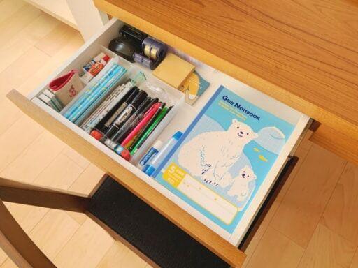 ノートやのり、鉛筆、消しゴムなどの消耗品をまとめてストック