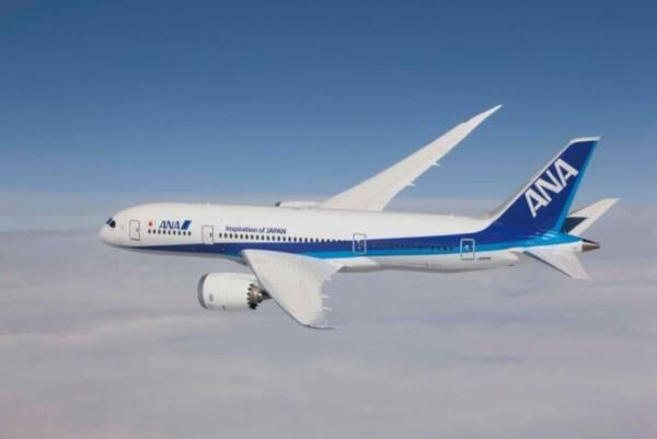 Boeing 787 Dreamliner in ANA livery, photographed from Clay Lacy\'s Astrovision Learjet.