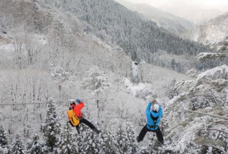 白銀の森を飛ぶ「冬のジップライン」が始動開始