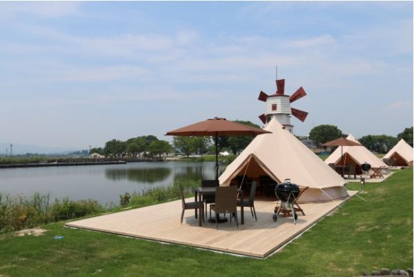 レイクサイドグランピングスポット「STAGEX高島」オープン