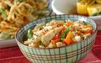今日の献立は女性に優しい食材をたっぷり使った「根菜入り炊き込みご飯」