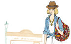 デニムシャツとレースワンピで王道ミックススタイル