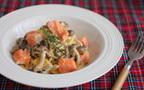 生クリームなしでOK!  ほっこり秋味・鮭とキノコの濃厚カルボナーラ