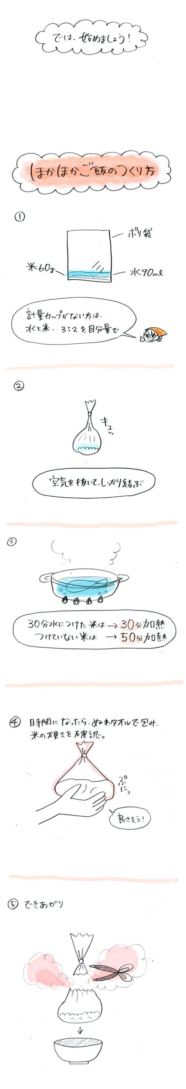 Vol.1 洗い物ナシ! 鍋と水とポリ袋だけで、ほかほかごはんが炊ける
