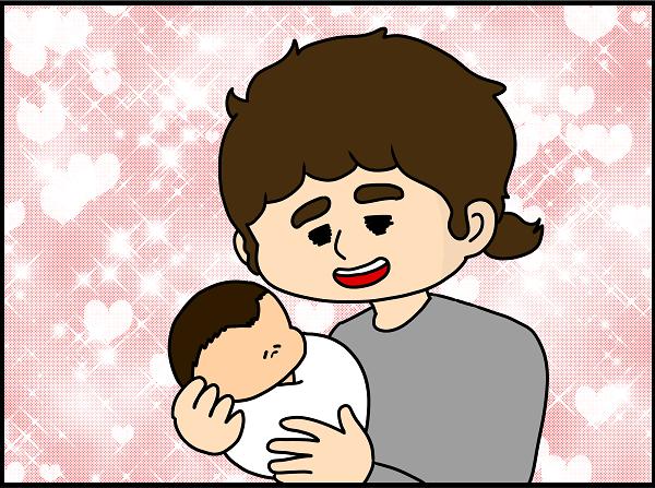 抱っこしていると少しぎこちないものの、すっかりパパの顔になりました。