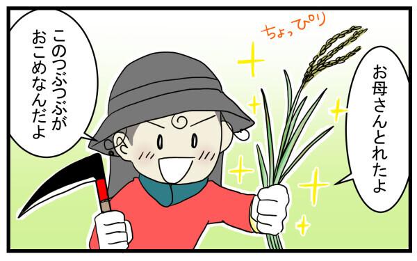 馴れない鎌で少しだけ稲を刈って次男は大満足