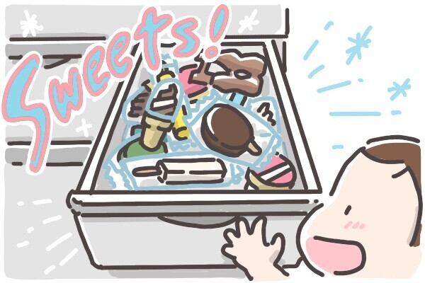 冷凍庫いっぱいのアイスに大喜び
