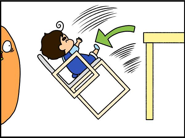 強くテーブルを足で押すと、ベビーチェアは後ろに倒れ…