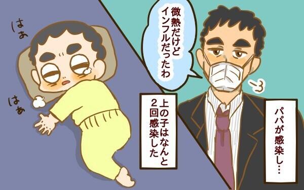 パパが感染し…、上の子はなんと2回感染しました。