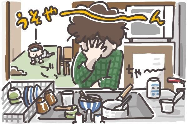 病後、片付いていない台所にがっかり